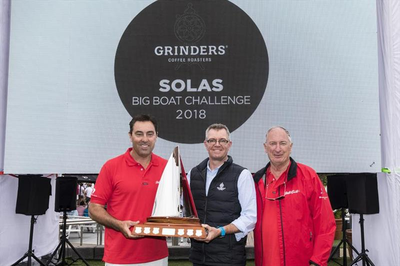 Wild Oats XI skipper Mark Richards, Grinders Coffee Head of Sales Jonathan Kerley and Sandy Oatley pose with the Big Boat Challenge Line Honours trophy - photo © Andrea Francolini