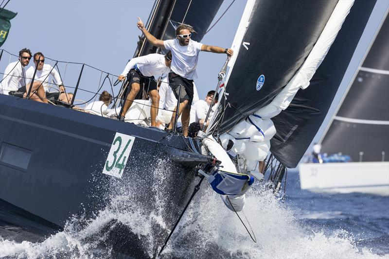 Foredeck action on Romanian Catalin Trandafir's brand new Grand Soleil 80 Essentia on day 2 of the Maxi Yacht Rolex Cup - photo © Studio Borlenghi / International Maxi Association