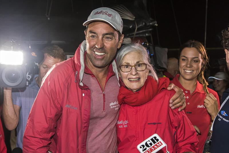 Wild Oats XI Skipper Mark Richards with Val Oatley, matriarch of the Oatley family. - photo © Andrea Francolini