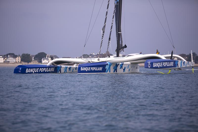 Banque Populaire IX leaves for a training sail from Lorient. - photo © Easy Ride / BPCE