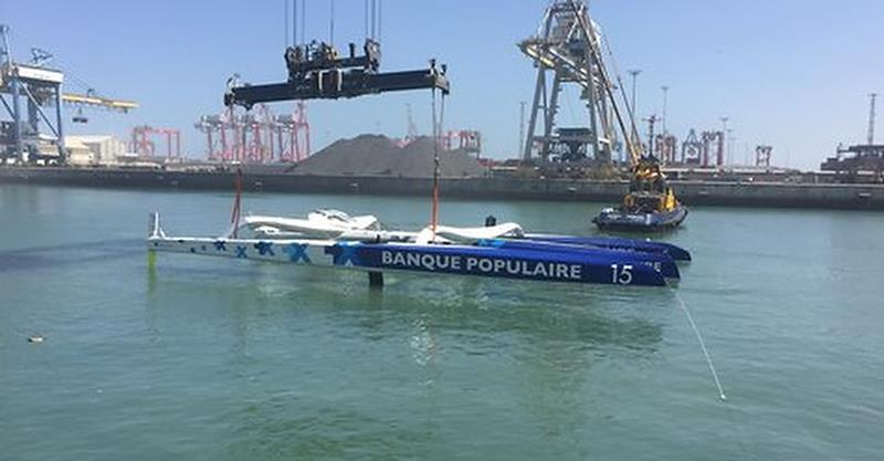 The Ultime class Banque Populaire IX is righted in Casablanca after being towed 130nm after her capsize - photo © Banque Populaire IX