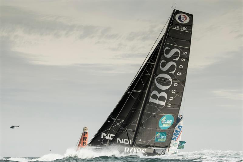 The Route du Rhum . St Malo. France British yachtsman Alex Thomson in action onboard his IMOCA Open60 race yacht 'Hugo Boss'  - photo © Lloyd Images