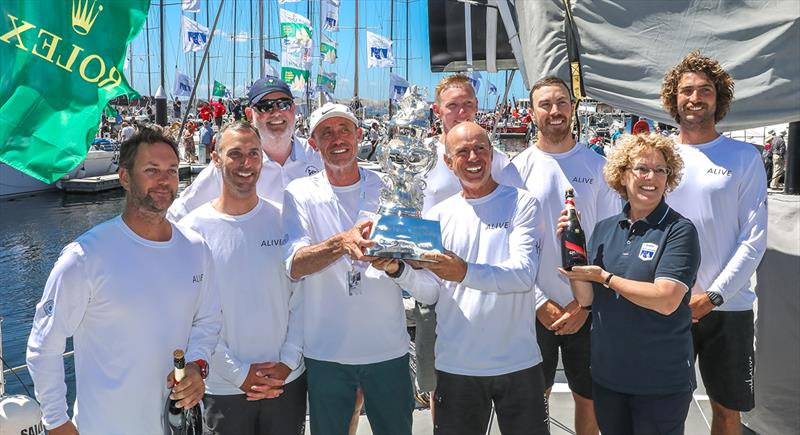Alive Yachting claim the Tattersall's Cup for the overall win under IRC rating in the 2018 Sydney Hobart race photo copyright Crosbie Lorimer taken at Cruising Yacht Club of Australia and featuring the Maxi class