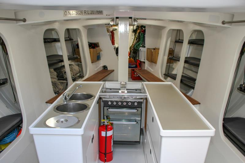 Looking Forward - Galley and wet area - Lion New Zealand - Relaunch - March 11, 2019 photo copyright Richard Gladwell taken at Royal New Zealand Yacht Squadron and featuring the Maxi class