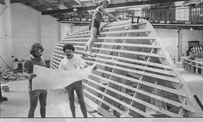Ian Cook of YDL (standing on plug) , as an apprentice working on the original build of Lion New Zealand in 1984 photo copyright Alan Sefton taken at Royal New Zealand Yacht Squadron and featuring the Maxi class