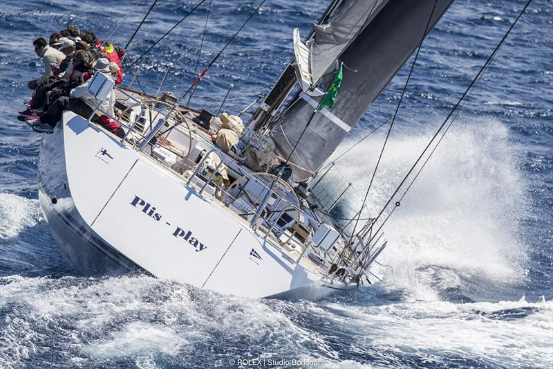 The Spanish Swan 80 Plis Play leads the Maxi Cruiser-Racer division - Rolex Capri Sailing Week - photo © Rolex / Studio Borlenghi