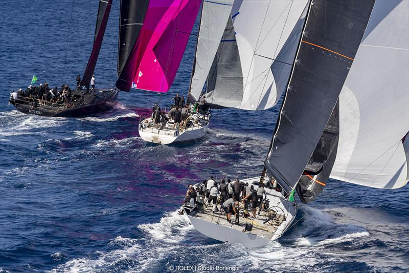 The lead trio of maxi racers, Jethou, Vesper and Caol Ila R, head on to the run - Rolex Capri Sailing Week - photo © Rolex / Studio Borlenghi