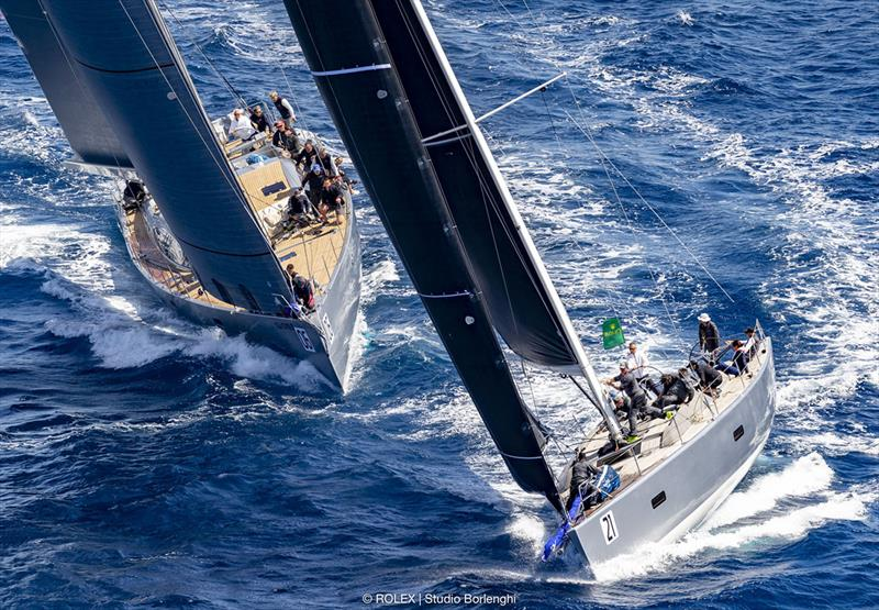 Benoît de Froidmont and his Wally 60 Wallyño leads Riccardo de Michele's H20 on to the run - Rolex Capri Sailing Week - photo © Rolex / Studio Borlenghi