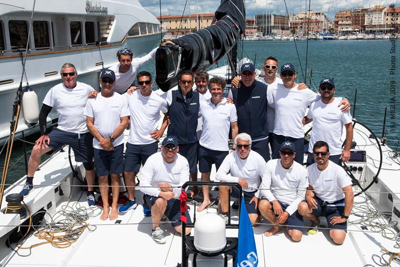 Roberto Lacorte (standing, fifth from right) with the SuperNikka crew - 151 Miglia-Trofeo Cetilar - photo © International Maxi Association