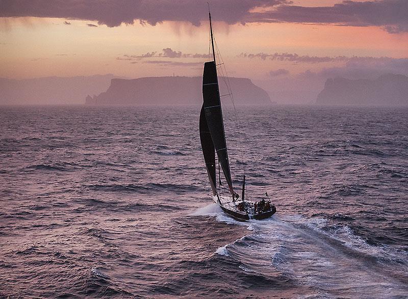 2017 Sydney Hobart Yacht race and Beau Geste makes for landfall as the day ends in Tasmania. - photo © RichardBennett