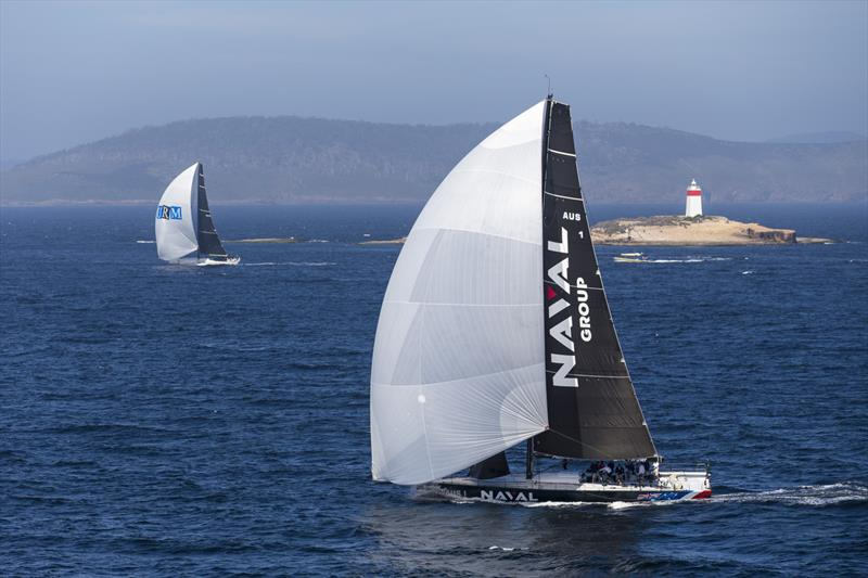 Naval Group)foreground) passing the Iron Pot at the mouth of the River Derwent, with the Maxi72 URM to windward - photo © Andrea Francolini