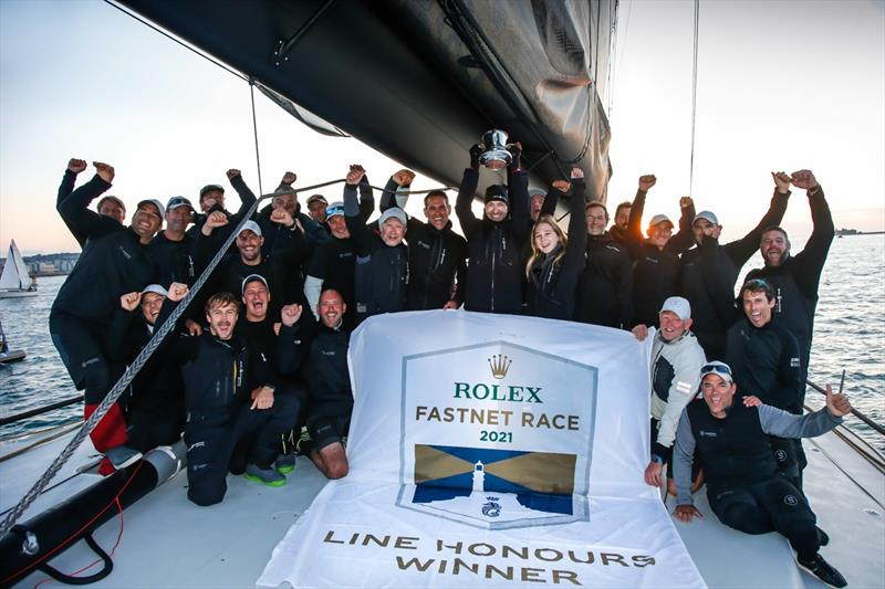 Winning crew celebrate aboard Dmitry Rybolovlev's ClubSwan 125 Skorpios, skippered by Fernando Echavarri after being first to finish the 2021 Rolex Fastnet Race - photo © Paul Wyeth / pwpictures.com