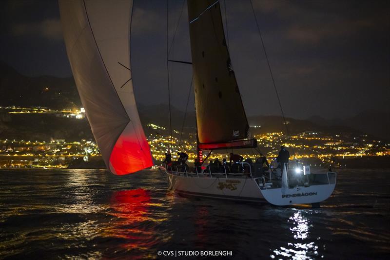 Pendragon VI approaches Monaco and its distinctive lights - Palermo-Montecarlo race - photo © Francesco Ferri