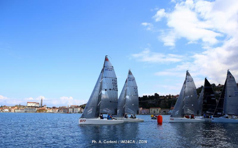 Melges 24 fleet in Portoroz - Day 2 of the 2019 Melges 24 European Sailing Series' 1st event - photo © Andrea Carloni / IM24CA / ZGN