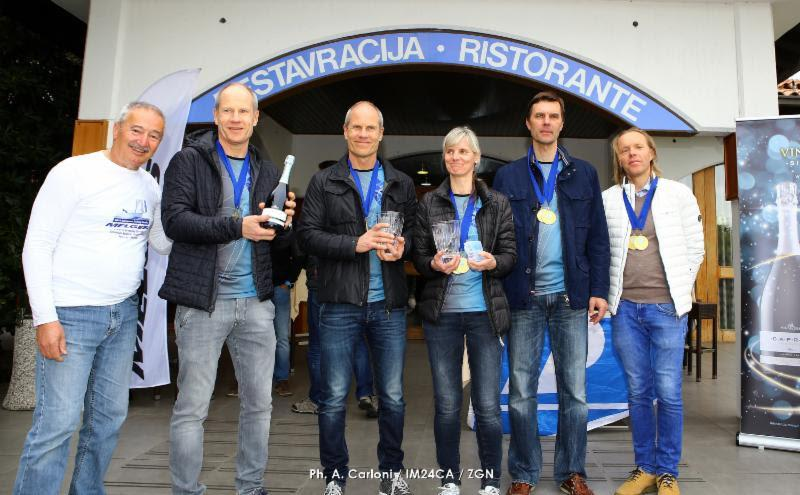 The winner team of the Marina Portoroz, Melges 24 European Sailing Series - Lenny EST790 with Tõnu Tõniste, Toomas Tõniste, Maiki Saaring, Tammo Otsasoo and Ants Haavel. photo copyright Andrea Carloni / IM24CA / ZGN taken at Yacht Club Marina Portorož and featuring the Melges 24 class