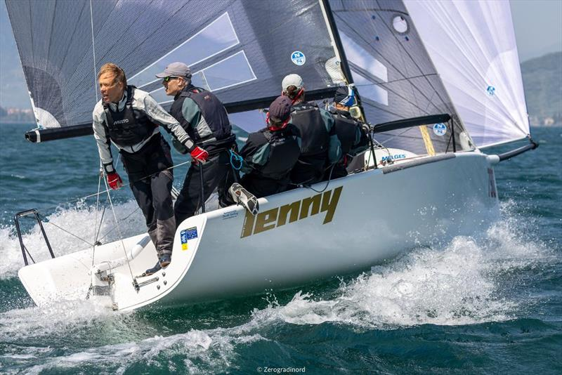 Fourth place is for Lenny EST790 (4-2-12) by Tõnu Tõniste, also leading the pack in the Corinthian division.  - Day 2 - Melges 24 European Sailing Series at Riva del Garda, Italy photo copyright Mauro Melandri / Zerogradinord taken at Fraglia Vela Riva and featuring the Melges 24 class