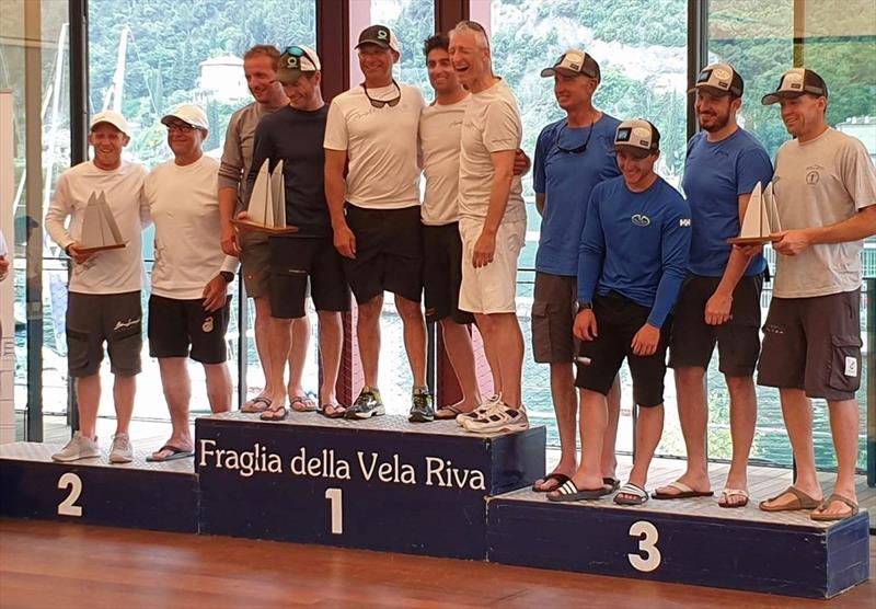 Overall podium of the Melges 24 European Sailing Series at Riva del Garda, Italy - photo © Mauro Melandri / Zerogradinord