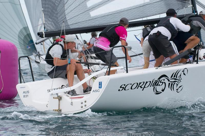 Sandy Higgins' Scorpius sailing in the light conditions - 2020 Australian Melges 24 Nationals, day 3 - photo © Ally Graham
