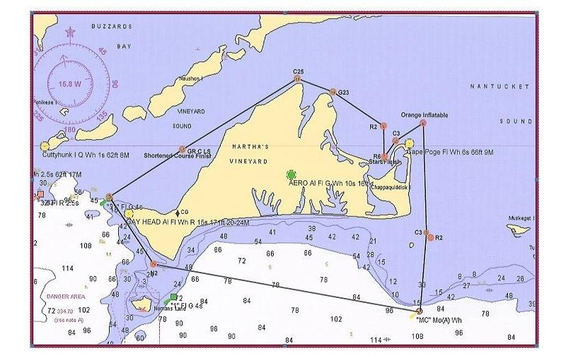 The Round-the-Island race course for Edgartown Race Weekend 2014 - photo © EYC