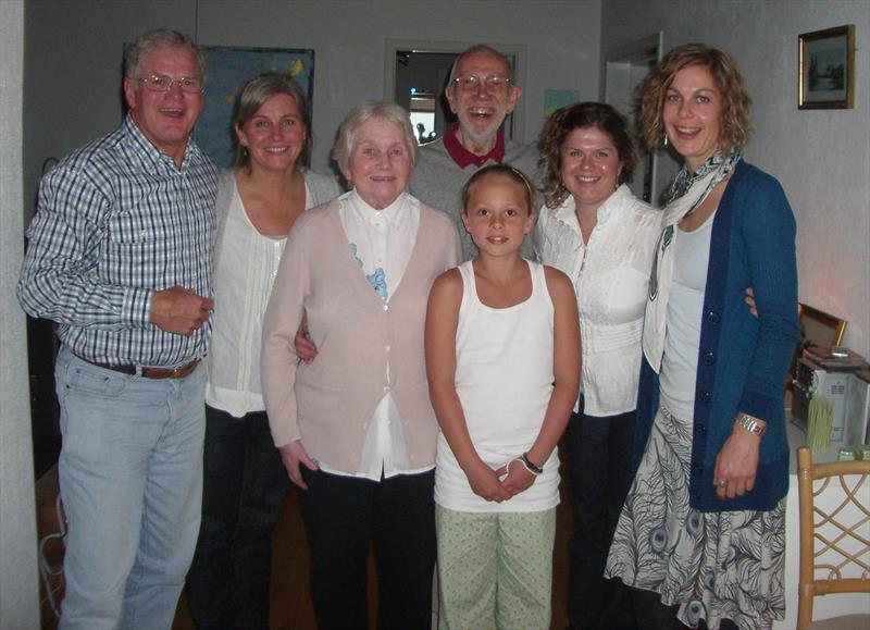 Elvström family with the Pearsons (l-r) Pip Pearson, Trine, Anne, Mia (Paul's Granddaughter) Paul, Lindy and Jill Pearson - photo © Elvström family