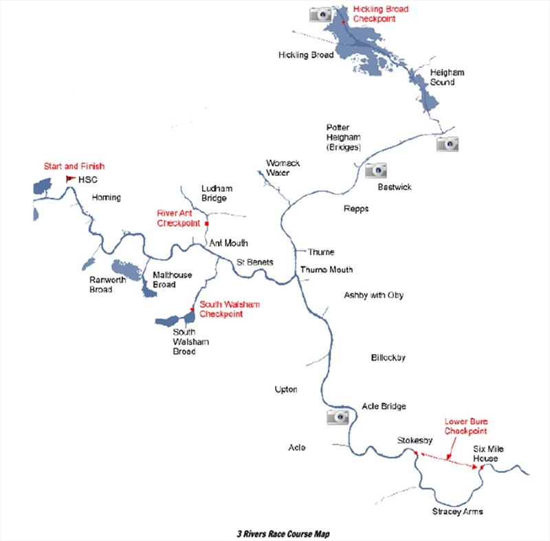 Three Rivers Race Course Map - photo © Horning Sailing Club