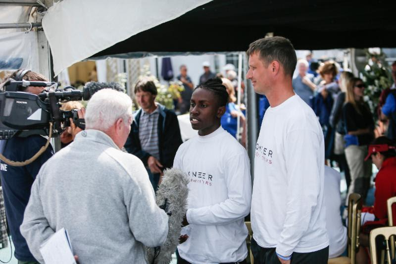 Seventeen-year-old Montel Fagan-Jordan, student from Greig City Academy ahead of competing in his first ever Fastnet on the Frers 45 Scaramouche (right: Jon Holt, Head of Sixth Form) - photo © Paul Wyeth / RORC