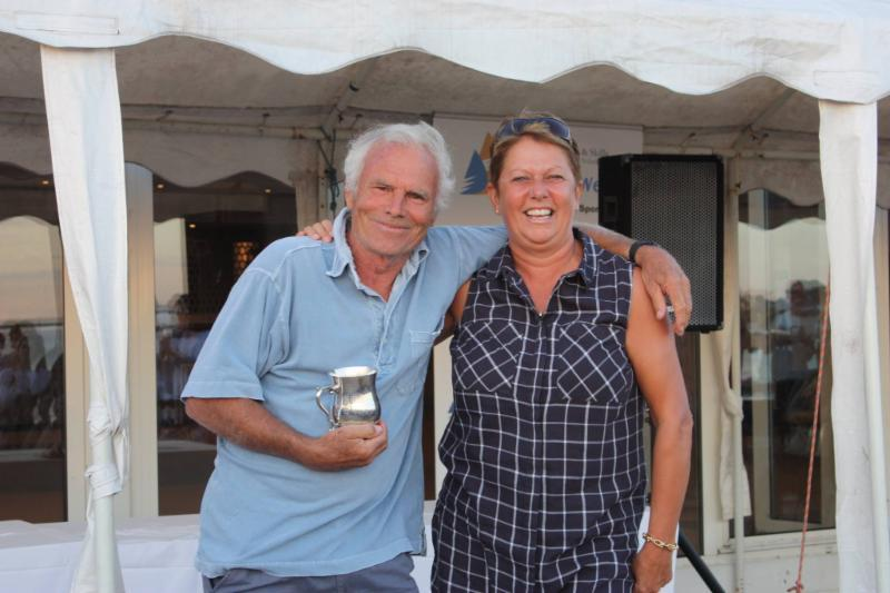 Oldest competitor Malcolm Goodwin with Sue Bouckley of Learning & Skills Solutions at Learning & Skills Solutions Pyefleet Week - photo © Mandy Bines