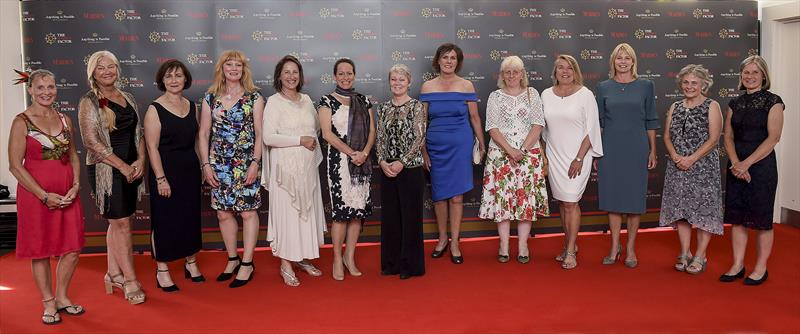 (l-r) Mandy Swan Neal; Mikaela Von Koskull; Claire Warren; Tanja Visser; Princess Zahra, Trustee of The Maiden Factor Foundation; Tracy Edwards MBE; Sally Hunter; Nancy Harris; Marie-Claude Kieffer (neé Heys); Jeni Mundy; Jo Gooding; Sarah Davies - photo © Michael Chester / The Maiden Factor