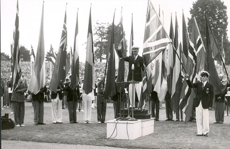 The Opening Ceremony for the Olympic Regatta. Team UK were given their uniforms (though not shoes) which were 'over and above' the normal rationed allowance for clothing. Not so well dressed were the Australian Team after London dockers stole the uniform! - photo © Torquay Library / Henshall