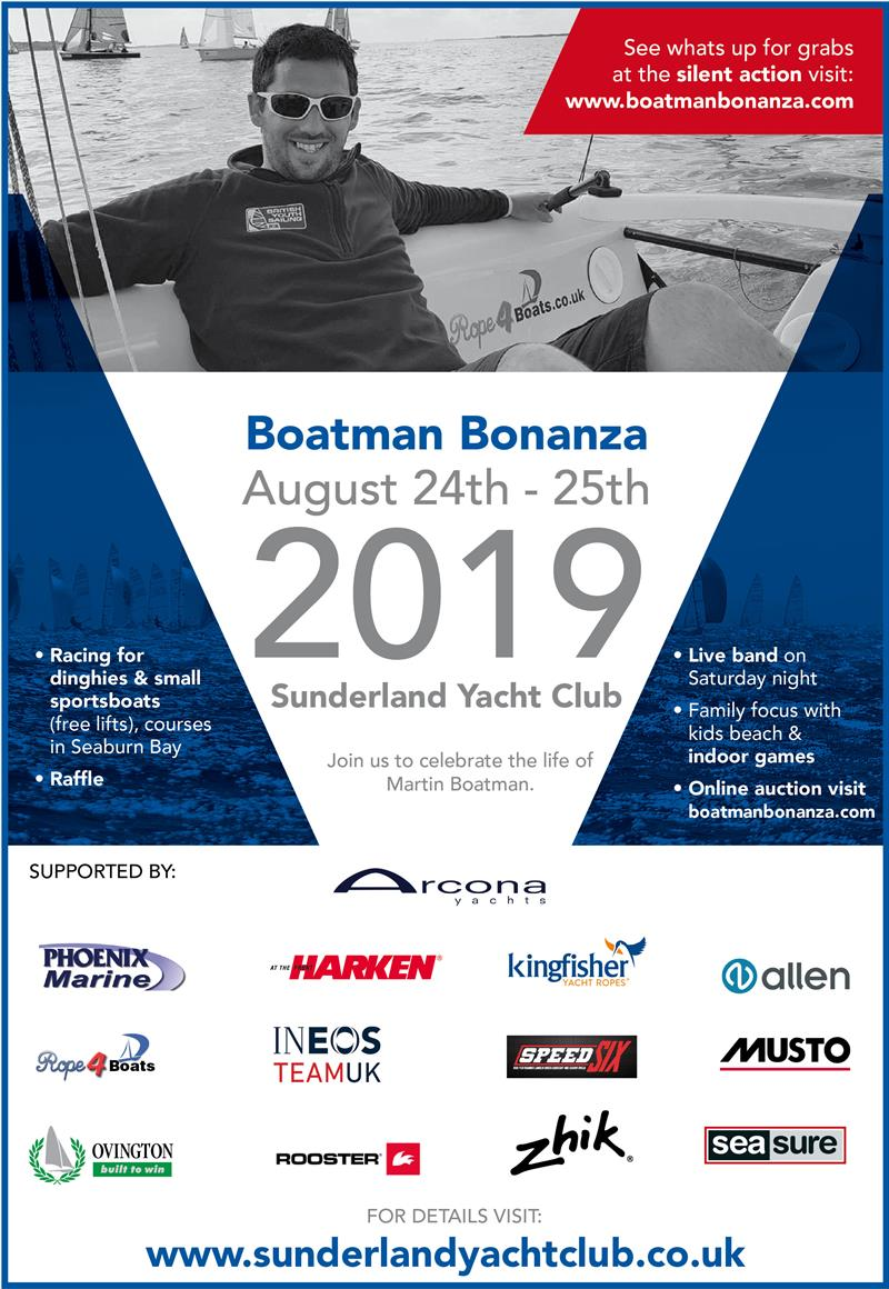 Boatman Bonanza to be held on 24th 25th August 2019 at Sunderland Yacht Club