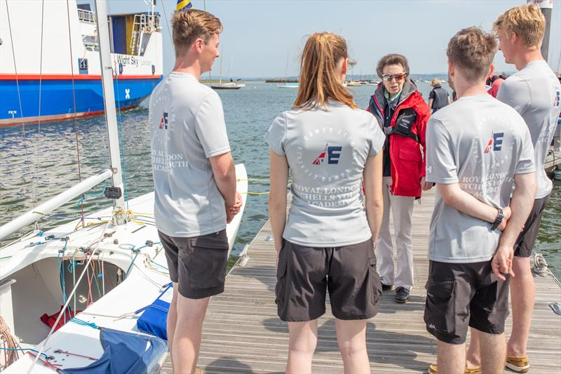The Princess Royal is introduced to the Royal Lymington Etchells Youth Team, who attended WJS when they were younger on the 35th Anniversary of Royal Lymington Yacht Club's Wednesday Junior Sailing programme - photo © Alex Irwin / www.sportography.tv
