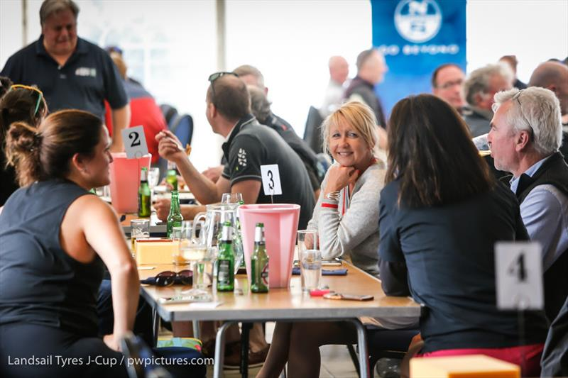 Daily prize givings with social distancing held at the RORC Clubhouse on day 2 of the 2020 Landsail Tyres J-Cup - photo © Paul Wyeth / www.pwpictures.com