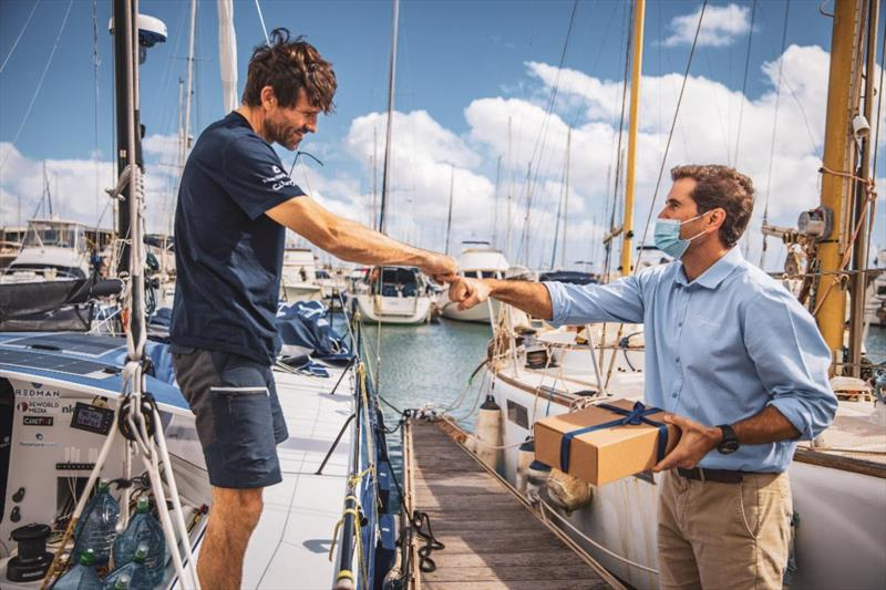 Start of the 2021 RORC Transatlantic Race from Puerto Calero, Lanzarote - José Juan Calero, Managing Director for Calero Marinas presented each team with a farewell gift and wished them a great race - photo © James Mitchell / RORC