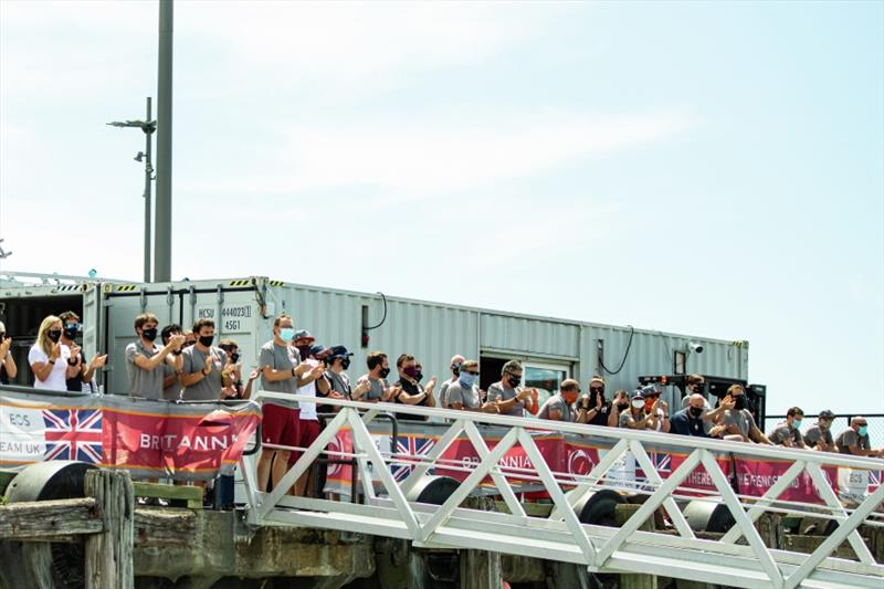 The team cheering on the sailors at dock out this morning - photo © D Wilko / INEOS TEAM UK