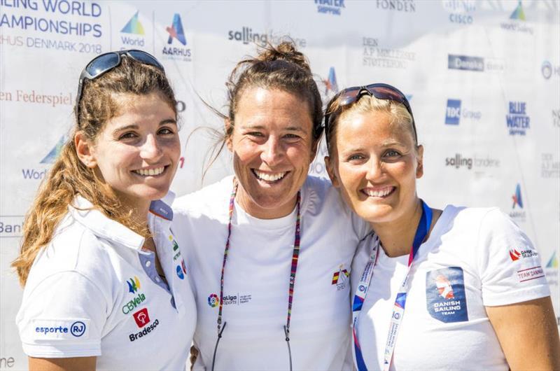 Martine Soffiatti Grael (BRA), Tamara Echegoyen Dominguez (ESP), Jena Mai Hansen (DEN) on day 3 of Hempel Sailing World Championships Aarhus 2018 - photo © Sailing Energy / World Sailing