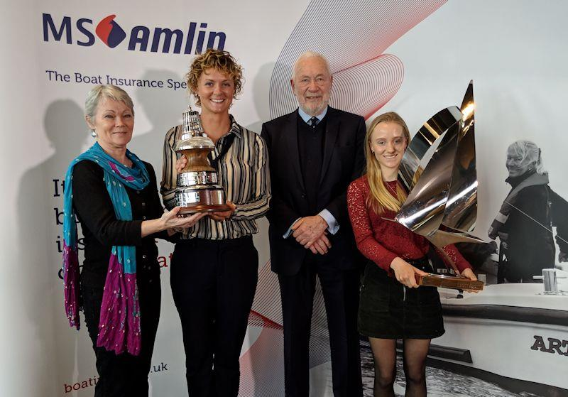 Sir Robin Knox-Johnston with the winners of the YJA Yachtsman and Young Sailor of the Year Awards 2018, Tracy Edwards, Nikki Henderson and Emily Mueller photo copyright Yachting Journalists' Association taken at