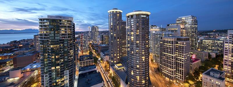 Sunset in Seattle featuring the Westin Hotel Seattle and the Monorail - Clipper 2017-18 Race - photo © Clipper Race