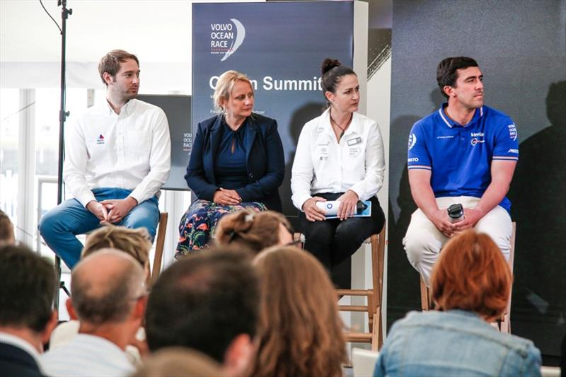 Mark Towill, Co-Founder & Team Director, Vestas 11th Hour Racing, Dan Reading, Sustainability Programme Manager, World Sailing, Meegan Jones, Sustainability Programme Manager, Julie Duffus, Olympic Movement Sustainability Manager. VOR, Cardiff stopover. - photo © Jesus Renedo / Volvo Ocean Race