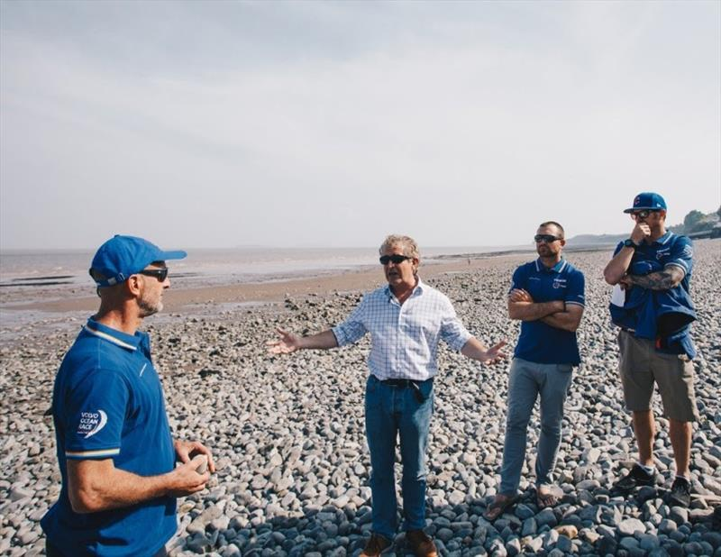 Team headed to Penarth beach to discuss how far they've come and what they've learned since September. Pictured left to right, Damian Foxall, Sustainability Manager, Tony Juniper CBE, a fellow with CISL, Charlie Enright Skipper, & Phil Harmer, crew member - photo © Atila Madrona / Vestas 11th Hour Racing