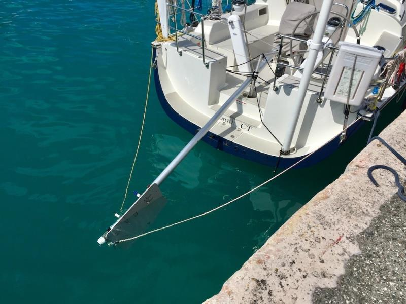 After some trial and error, Bailiwick's successful rig included a whisker pole, a bulkhead panel, screwdrivers and Dyneema lashing, and the emergency tiller serving as a pivot point - photo © Bailiwick / Chris Museler