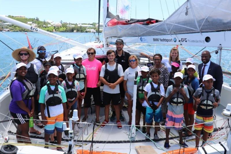 Youth sailors and team managers from Endeavour Community Sailing Programme meeting Boris Herrmann & Malizia Education Manager Birte Lorenzen onboard Malizia, alongside AAR sponsor Bermuda Tourism Authority, represented by Pat Phillip-Fairn and Glenn Jones - photo © Louay Habib