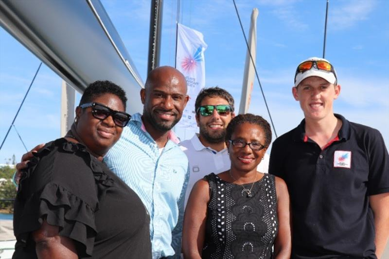 Representatives from the Bermuda Tourism Authority, Rambler Crew and AAR host  onboard the award-winning Maxi Yacht Rambler 88 - photo © Louay Habib