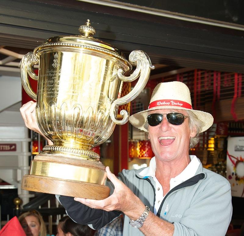 2013 overall winner Cowes Dinard St.Malo Race. 100ft Maxi Leopard Owner Mike Slade, celebrates winning the Edward VII Gold Cup photo copyright Ant Davey / RORC taken at Royal Ocean Racing Club
