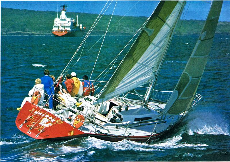 Exador in the 1985 Admirals Cup Trials with Mike Clark in the stern with the white wet weather gear. - photo © Alan Sefton - NZ Yachting