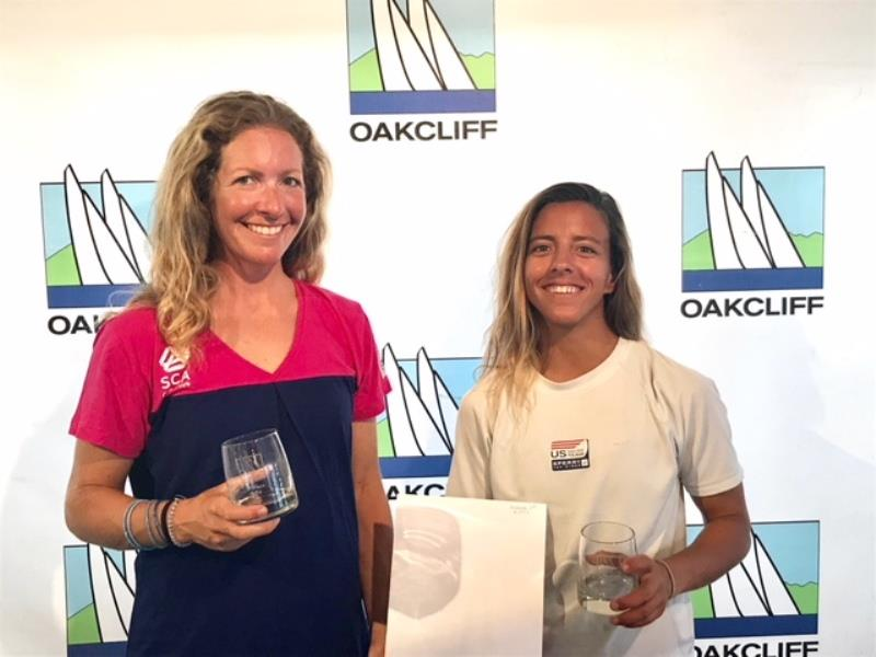 L to R: Lara Dallman Weiss and Lt. j.g. Nikole 'Nikki' Barnes after the first leg of the Oakcliff Triple Crown Regatta - photo © Oakcliff Sailing Center