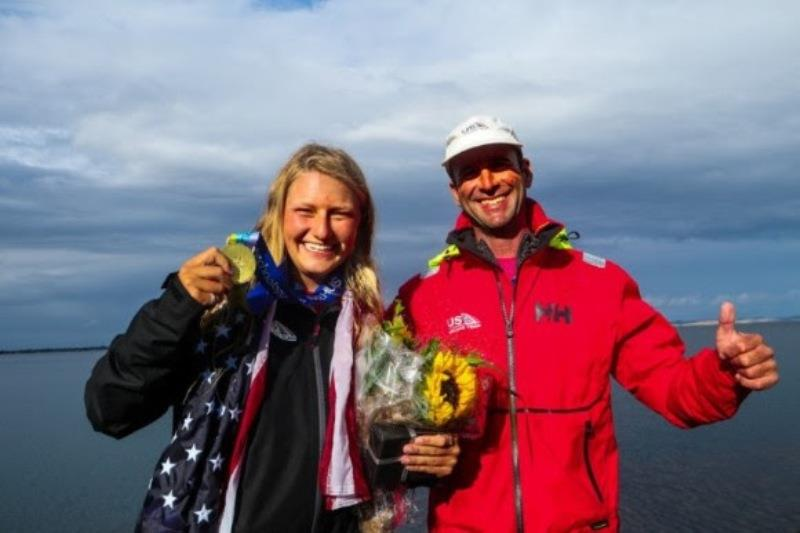 Daniela Moroz and Coach Robbie Dean at the 2018 Hempel Sailing Worlds Medal Ceremony - photo © US Sailing