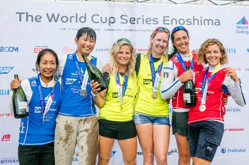 Benedetta di Salle and Alessandra Dubbini (ITA), Ai Kondo Yoshida and Miho Yoshioka (JPN), Afrodite Kyranakou and Anneloes van Veen (NED) - photo © Jesus Renedo / Sailing Energy / World Sailing