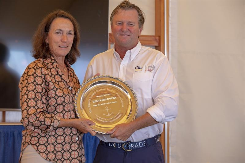 Brad Read, Executive Director of Sail Newport, presents the Anchor Award to Susan Maffei Plowden, who was stopover director of the 2017/18 Volvo Ocean Race Newport. - photo © Billy Black
