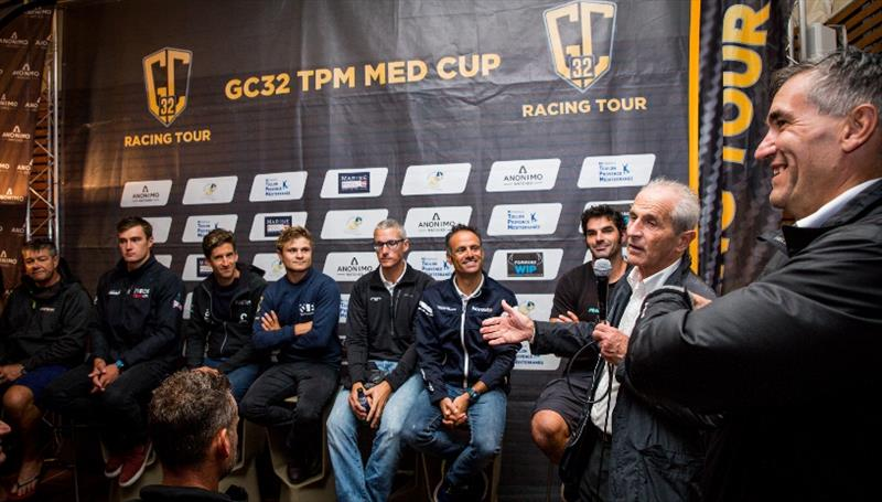 Sirius Events' Manfred Ramspacher and Hubert Falco, President of Toulon Provence Méditerranée and Mayor of Toulon welcome the teams photo copyright Sailing Energy / GC32 Racing Tour taken at