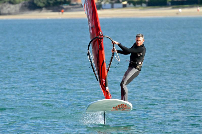 The Windfoil gets around many issues in the existing Windsurfing/Kiteboarding options are giving the older windsurfers a second life in the sport as the the constant arm-pumping is no more - photo © Richard Gladwell